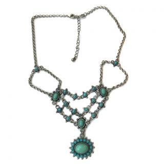 Nina Ricci Antique Silver & Turquoise Necklace
