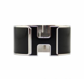 Hermes Black & Palladium Extra Wide Clic Clac Bracelet GM