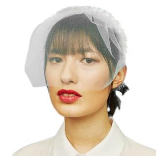 Awon Golding Blush millinery ivory feathered veil