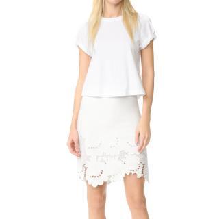 Victoria Victoria Beckham 'Delft' Embroidered Hem Skirt