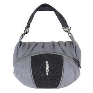 e84fa62577ca39 Khirma Eliazov Grey Beaded Shoulder Bag