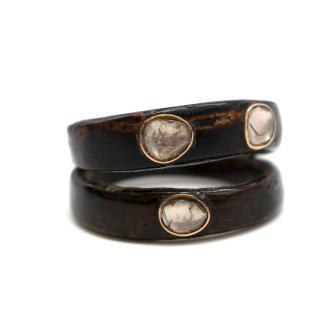 Bespoke Raw Diamond Embellished Double Wood Ring