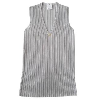 Chanel Silver Ribbed Knit Sleeveless Top