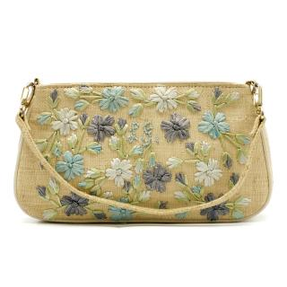 Lulu Guiness Straw Stitched Floral Handbag