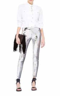 Isabel Marant Izard Silver Sequined Crepe Skinny Pants