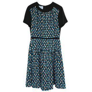 Prada Geometric Print Crepe Tea Dress