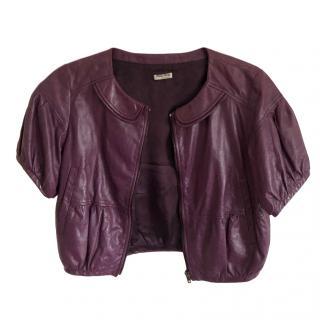 Miu Miu Cropped Purple Leather Jacket
