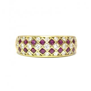 Bespoke Italian Ruby and Diamond Harlequin 18k Gold Ring