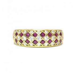 Bespoke Italian Ruby and Diamond Harlequin 18k Gold Ring
