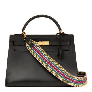 Hermes Vintage Box Leather 32cm Kelly Bag W/ Sangle Cavale Strap
