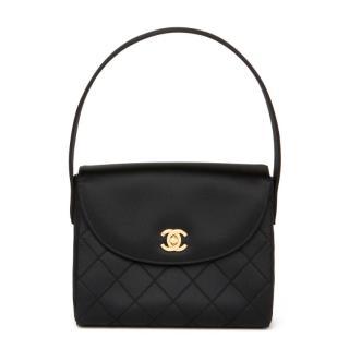 Chanel Quilted Satin Black Vintage Top Handle Flap Bag