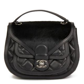 Chanel Lambskin & Pony Hair Black Saddle Bag