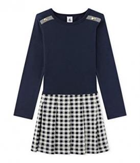 Petit Bateau Girls' Licala Navy & Gingham Dress
