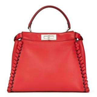 Fendi Red Leather Whipstitch Trim Peekaboo Bag