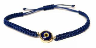 Elena Votsi  Blue Glass Evil Eye Diamond & Yellow Gold Bracelet