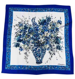 Dolce & Gabbana blue floral print silk square scarf