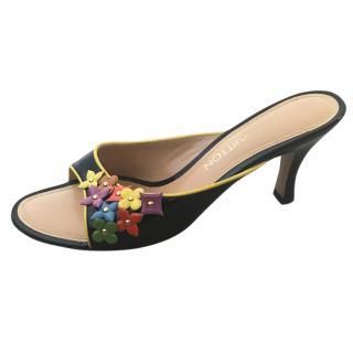 Louis Vuitton patent leather flower mules
