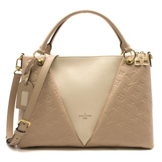 Louis Vuitton Beige Rose Creme V Tote MM Handbag - New Season