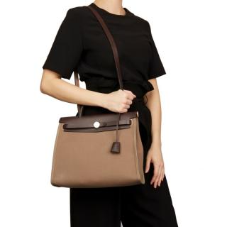 Hermes Leather & Canvas Etoupe Zip 31 Herbag