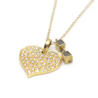 Bespoke 18k Yellow Gold Diamond Heart Long Necklace