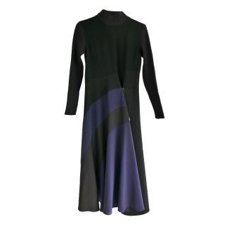Sportmax Black & Navy Asymmetric Zip Front Dress