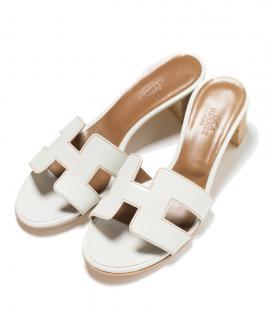 Hermes White Oasis Sandals