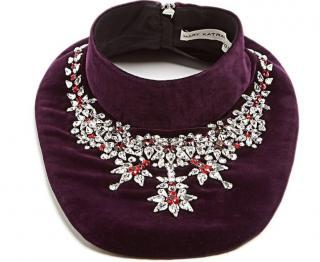 Mary Katrantzou Purple Crystal Embellished Velvet Bib