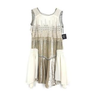 Anna Sui Embroidered Champagne Silk-Velvet Dress