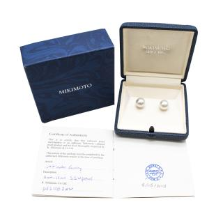 Mikimoto Large 11-12 mm White South Sea Stud Earrings in18k White Gold