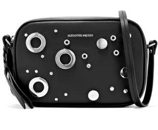 Alexander McQueen black leather grommet camera bag