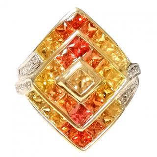 Bespoke Orange and Yellow Sapphire and Diamond Cluster Ring