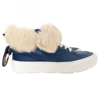 MSGM blue leather fur trim sneakers
