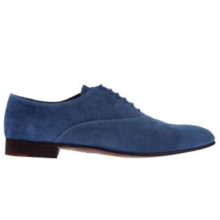 Sergio Rossi Blue Suede Lace-Up Shoes