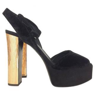 3a970f132 Giuseppe Zanotti Black Suede Gold Heeled Platform Sandals