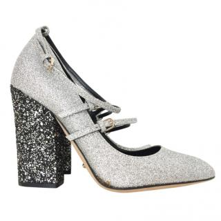 Sergio Rossi Glitter Embellished Block Heeled Sandals