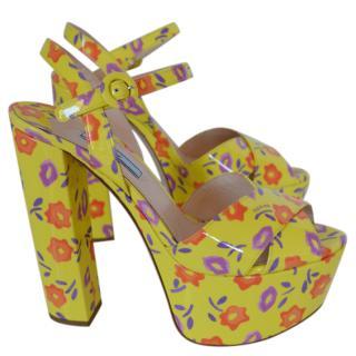 Prada Patent Yellow Floral Platform Sandals