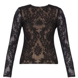BCBG Max Azria Kendalin Long-Sleeve Embroidered Top