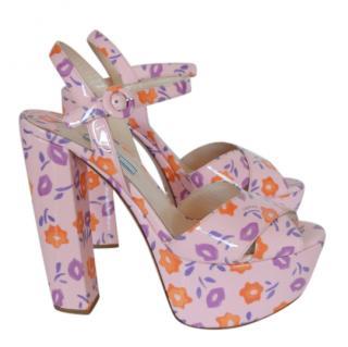 Prada Pink Floral Platform Sandals
