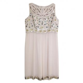 Ann Louise Roswald blush embellished chiffon mini dress