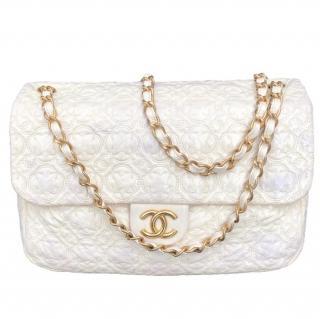Chanel cream patent camellia print jumbo flap bag