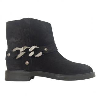 Casadei Suede Chain Trim Ankle Boots