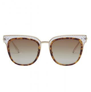 Bottega Veneta Transparent Havana Sunglasses