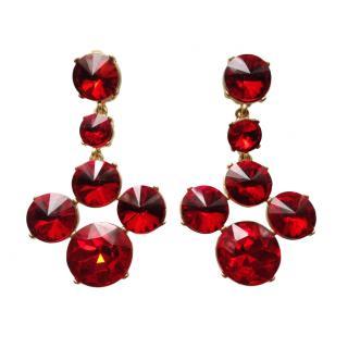 Oscar De La Renta Red Crystal Drop Earrings