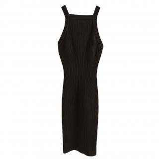 Alaia sleeveless black bodycon knit dress