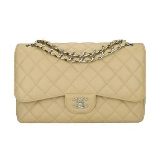 Chanel Beige Clair Lambskin Jumbo Double Flap Bag