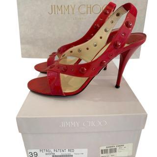Jimmy Choo Petrol Patent Red Studded Sandals