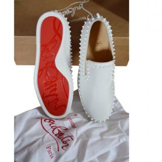 Christian Louboutin White Studded Roller Flats