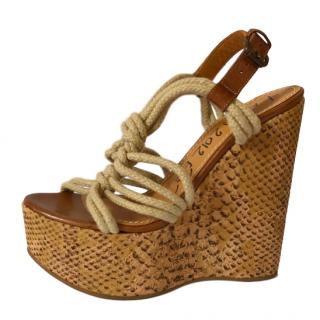 Lanvin Snake Print Rope Wedge Sandals