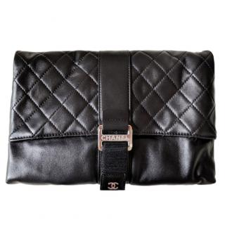 Chanel Black Lambskin Foldover Clutch
