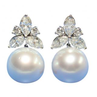 652378435 Bespoke South Sea Pearl & Diamond Earrings